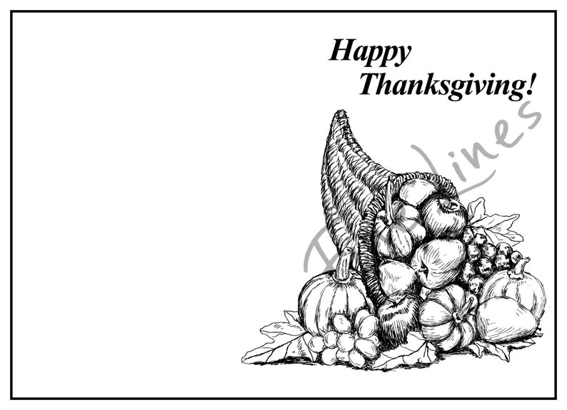 Digital card Digital stamp Holidays art print Cornucopia clipart Free gift Thanksgiving greeting card DIY