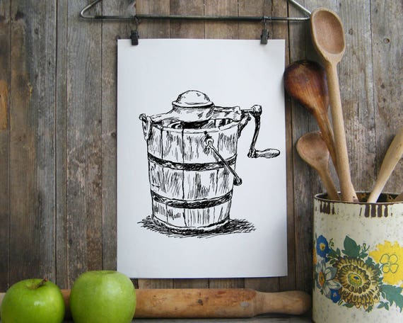Kitchen Decor, Antique Kitchen sign, Rustic Wall Art, Retro style Art,  Country Home Decor, Farmhouse decor, Vintage Ice Cream Maker