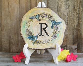 Hummingbird Wood Signs, Rustic Wood Slice Art, Wooden Name Signs, Custom Door Signs, Monogram Home Sign, Personalized Door Signs