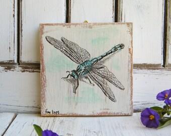 Libelle Wandkunst, Libelle, Geschenke, Miniatur Bild, niedlichen Tiere, Kinder Zimmer Dekor, Holzschild, Kinderzimmer, Geschenk für sie, Geschenk-Idee