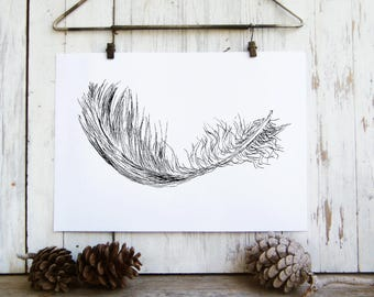 Feather poster - Black and white printable, Printable wall art, Nature print, Art & collectibles, Dorm decor, Hostess gift