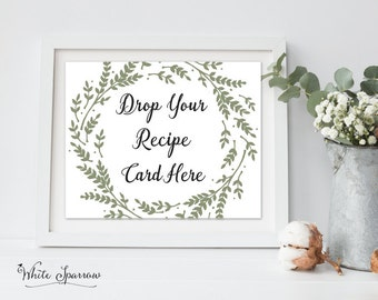 sage green bridal shower decor bridal shower recipe card sign drop your recipe card here green wedding shower bridal shower decorations