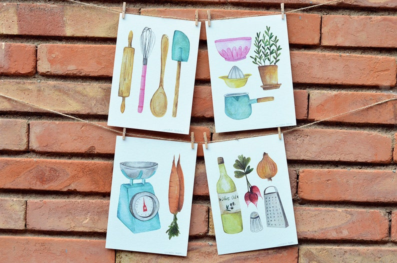 KITCHEN PRINTS SET watercolor cookware cookware prints image 0