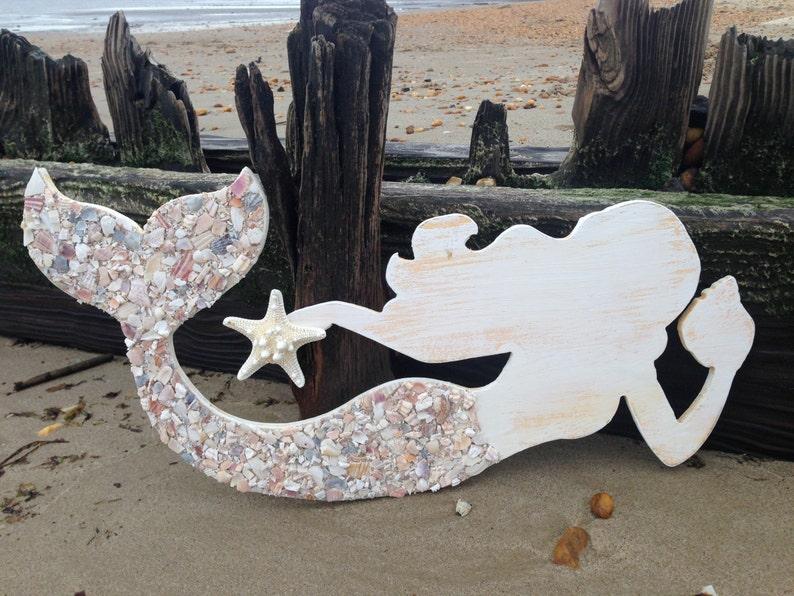 Wood Mermaid Mermaid Art Mermaids Mermaid Shell Art Coastal Mermaid Art Mermaid Wall Decor Mermaid