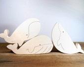 Wooden Toys - Whales Toys // Wooden Whale // Baby toys // children gift // montessori toys // Wooden Ocean animals // Sea Animals
