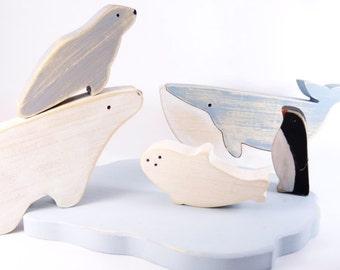 Wooden Toys floe Antarctic Arctic animals // Wooden Whale // Polar Bear -  Pinguin // vintage wooden toys//  waldorf wooden toys