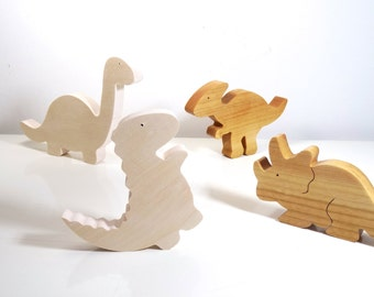Wooden Toys // Set of wooden Dinosaurs  //  baby toys // Eco friendly Toys // Montessori toys // handmade