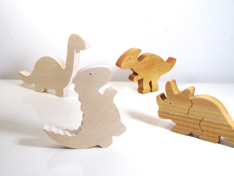 Wooden Toys // Set of wooden Dinosaurs  //  baby toys // Eco image 0