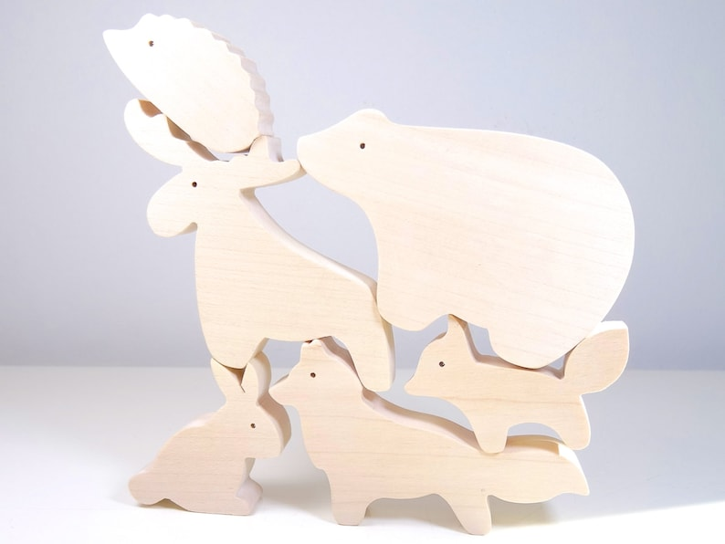 Wooden toys animals  gifts for kid  Bear Rabbit Hedgehog image 0