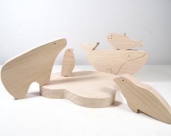 Wooden Toys Marine and polar animals  //  baby gift  //  Natural Organic Toys // Whale , Polar bear   // Christmas Gift