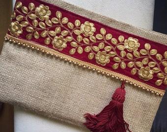 Avond koppeling, Floral Clutch, Boheemse Clutch, Boho Bag, Fashion tas, Womens handtas, als cadeau voor haar, Clutch portemonnee, etnische koppeling