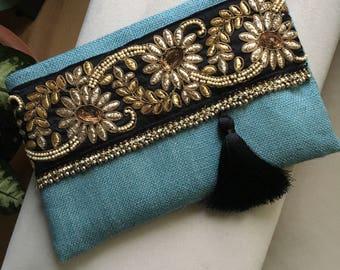 Hemelsblauw Boheemse koppeling, Boheemse Clutch, Boho Bag, Fashion tas, handtas van de vrouw, als cadeau voor haar, Clutch portemonnee, etnische Clutch, handgemaakt geschenk