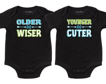 d480cfc14 Twin Boys Gifts, Older and Wiser, Younger and Cuter, Twin Boy Gift, Newborn  Twin Boys, Twin Boys Gift Set