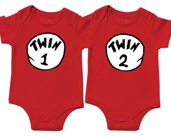 Twin 1 Twin 2 - Baby Boys Shower Gift, Thing Seuss Red Bodysuits