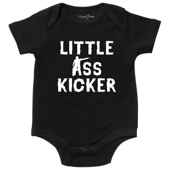 Lil Ass Kicker Creeper Bodysuit Baby Shower Gift Halloween Funny Dead Geek Nerd Cute Fun Boy Girl Zombie Walking