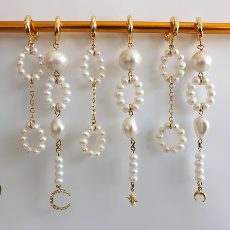 Long bridal earrings freshwater pearl drop earrings Baroque pearl earrings Baroque earrings