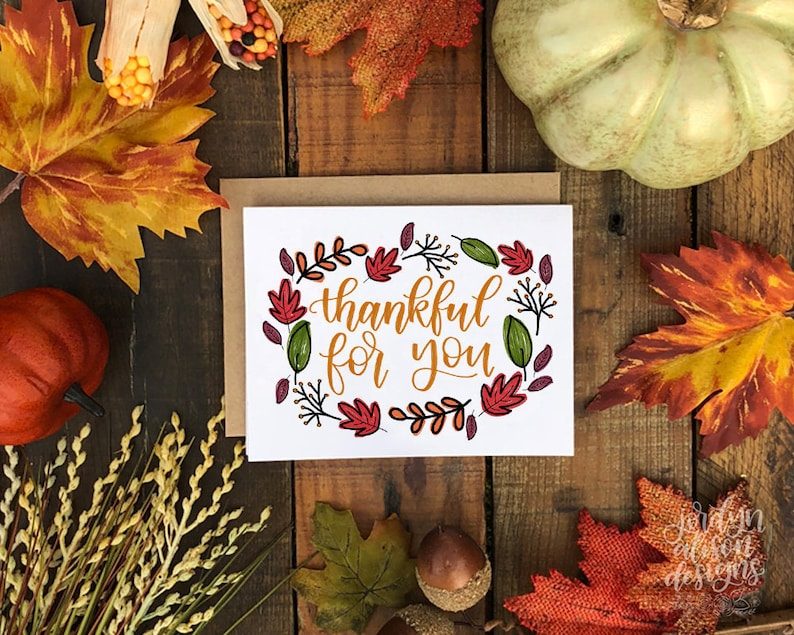Thankful For You Friends Giving Thanksgiving Card Thankful image 0