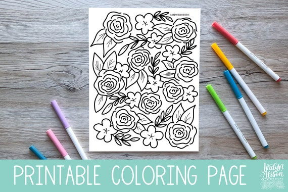 Spring Floral Printable Coloring Pages Adult Coloring