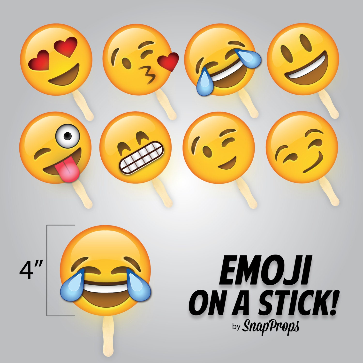 Emoji On A Stick Smiley Emoji Party Photobooth Prop Small Etsy