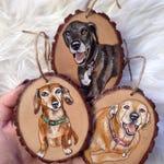 mini painting, mini pet portrati, Custom pet ornament, wood ornament, pet portrait ornament, pet ornament, custom christmas gift