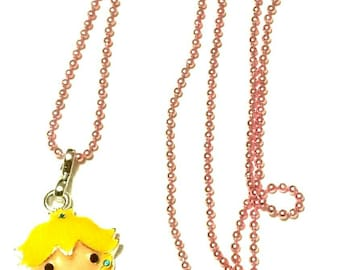 Nintendo Princess Peach women's necklace Mario necklace Nintendo necklace gamers necklace women's rhinestone necklace Rhinestone Princess