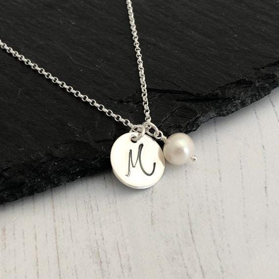 a6f2d4073d0b0 Personalised pearl necklace, June birthstone necklace, initial necklace,  bridesmaid gift, sterling silver initial pendant, 30th anniversary