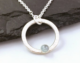 Aquamarine necklace, March birthstone necklace, aquamarine and sterling silver hammered circle, mothers day gift, 19th wedding anniversary