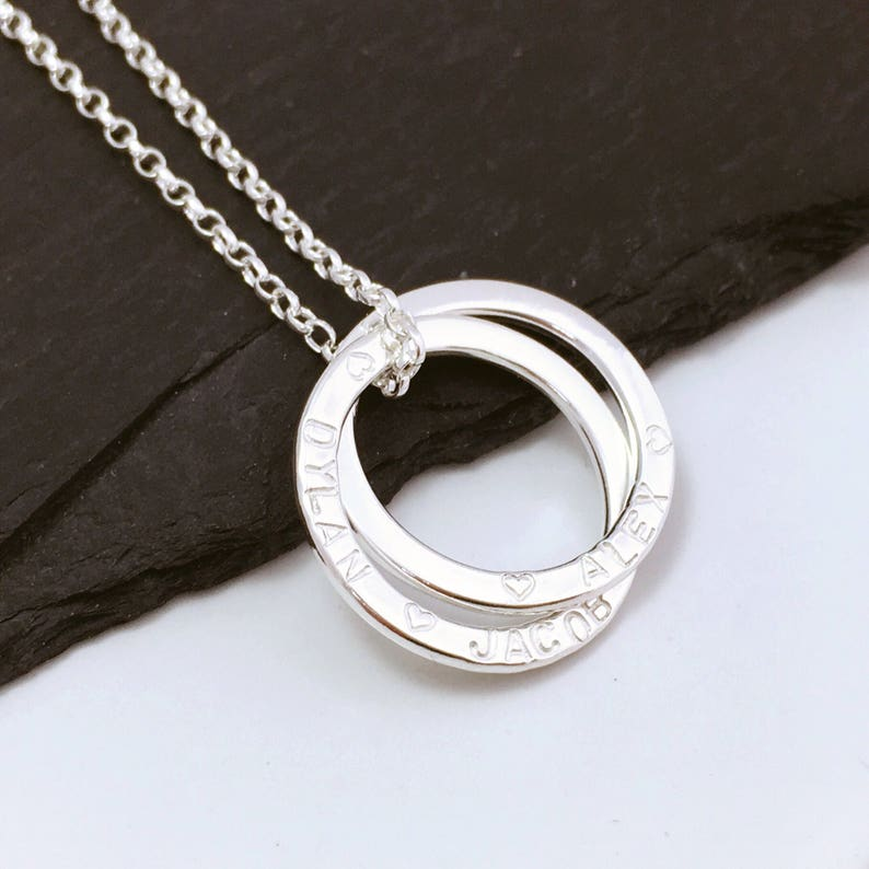 circle necklace Personalised 2 ring name necklace sterling silver linked ring necklace children name necklace gift for new Mum