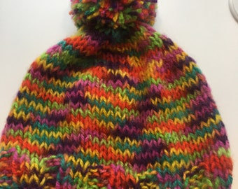 d9abef33770 Adult Winter Hat Pom Pom Multi color Rainbow