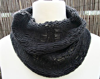 Black knit cowl scarf Knitted black scarf Knit circle scarf Cashmere black scarf Cashmere knit cowl Black neckwarmer stocking stuffer