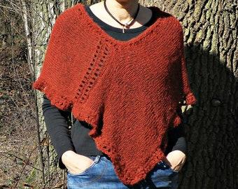 583bc7e52c7335 Hand knit poncho orange poncho terracotta poncho after pregnancy top boho  poncho postpartum clothes maternity sweater pregnancy clothes