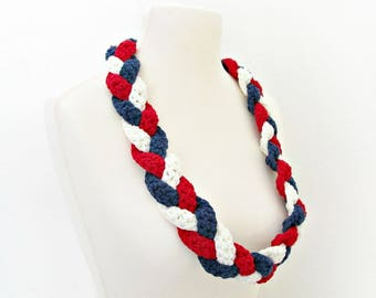 American scarf Ameican flag scarf 4th of July scarf Red white blue scarf Patriotic scarf American colors cowl Holiday scarf Independence Day