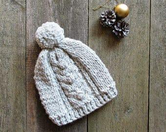Gray knit hat Womens pom pom hat Gray slochy hat Womens sky hat winter hat with pom pom beanie knit hat women knitted hats for women girls