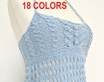 Knitted tops for women cotton top Knitted summer top Lace backless tops Sleeveless top Crochet top Summer fashion tops Halter tank top
