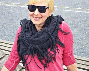 Knit black scarf Knitted black scarf Knit fringe scarf Oversized scarf Blak Large scarf black long scarf oversize Wool black scarves