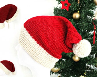 Santa Hat, Knit Christmas Hat, Santa Claus Hat, Big head Santa Hat