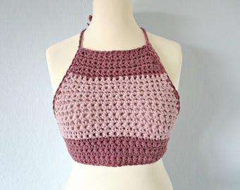 6c055a48133bd Dusty rose top crochet top Crochet teen top Beach pink top crochet tube top  Girls summer top Hand knit top Pink halter top Summer cotton top