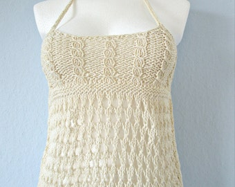 Ivory summer top Lace beach top Knit cable top Beach cover up Long cotton top Crochet gifts Crochet blouse Lace knitting Top for womens