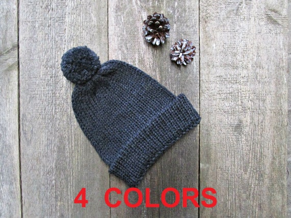 Mens pom pom hat Mens knit hat Mens slouchy hat Gray slouchy  d144c9490e0
