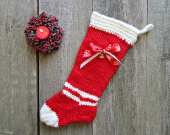 Christmas for her Christmas stocking Christmas home decor tree Present stocking Red white stocking Knit stocking Unique rustic stocking