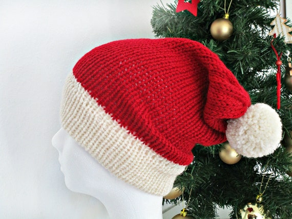 Knit christmas hat Knit Santa hat Red christmas hat photo prop  0f98c6c16f9