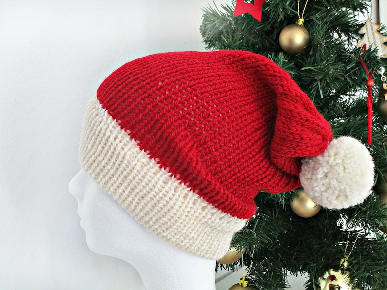 1f651f151ed2a Knit christmas hat Knit Santa hat Red christmas hat photo prop