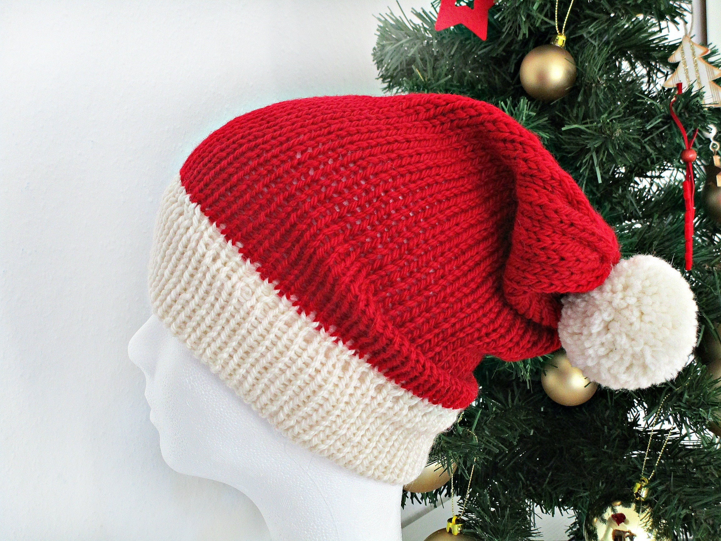 Knit christmas hat Knit Santa hat Red christmas hat photo prop  47cfd08e4f6d