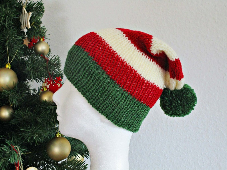 7e04f7deb34f5 Elf christmas hat Knit Red green elf hat Red christmas hat Red