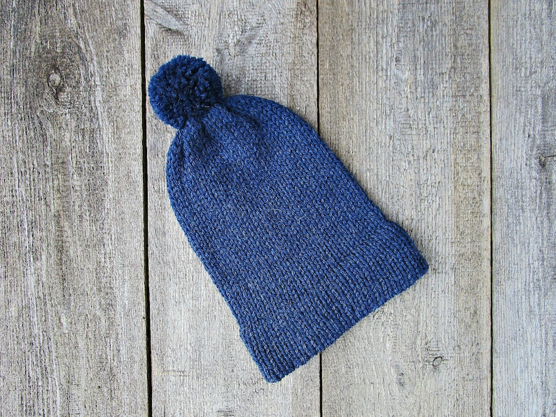 96c774768ef Mens slouchy hat Mens pom pom hat Mens knit hat Blue slouchy