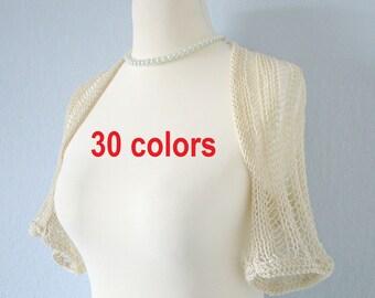 Knit bridal bolero Knit wedding bolero Ivory bolero shrug Off white bolero Crochet wedding Bridesmaids bolero Bridal capelet bolero jacket