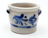 Salt Glaze Pottery Jar w Blue Tulip Detailing and Handles - 300 Marking - For Food or Spare Change or Tiny Treasures - Westerwald Perhaps
