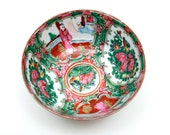 19th Century Antique Chinese Export Porcelain - Intricate Rose Mandarin Design Hand Painted w Panels of People in Scenes - Stamped China