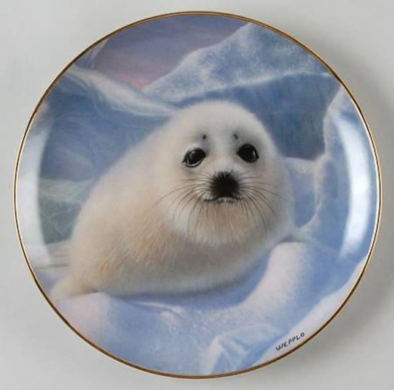 Snow Pup - Porcelain Plate - Limited Edition by Weeplo - 24K Gold Trim -  Retired Franklin Mint Fine Porcelain - COA & Original Box