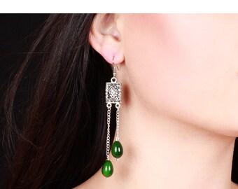 Colored Pearl Earrings - Green Pearl Earrings - Dangle Earrings - Statement Earrings - Art Deco Earrings - Drop Earrings - Gift For Her